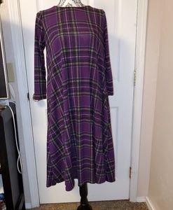Reborn J Purple Plaid Midi dress